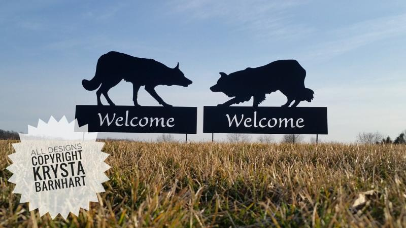 Smooth and Rough border collie large welcome signs